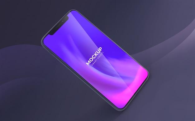 エレガントな波状の暗い背景のあるスマートフォンのモックアップ