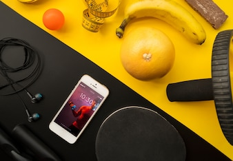 Smartphone mockup with fitness concept