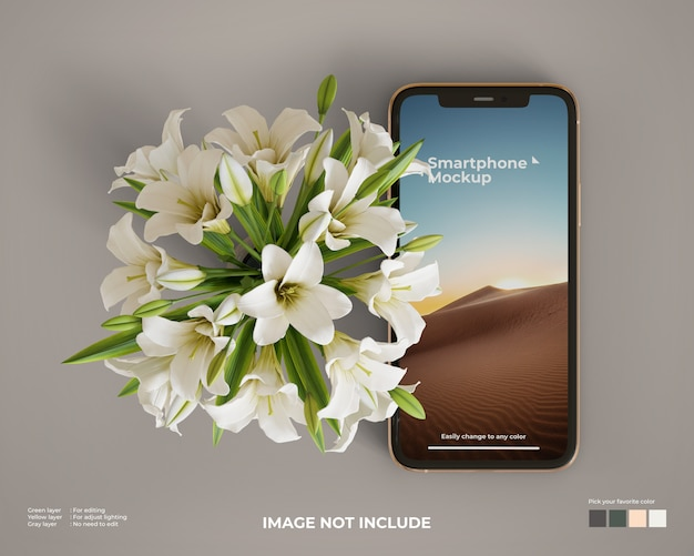 Smartphone mockup with a flower on the side