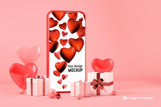 Smartphone mockup with gift boxes and hearts