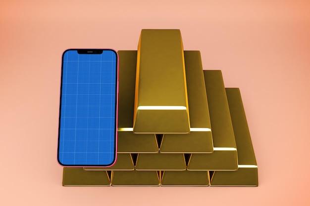 金の延べ棒でスマートフォンのモックアップ