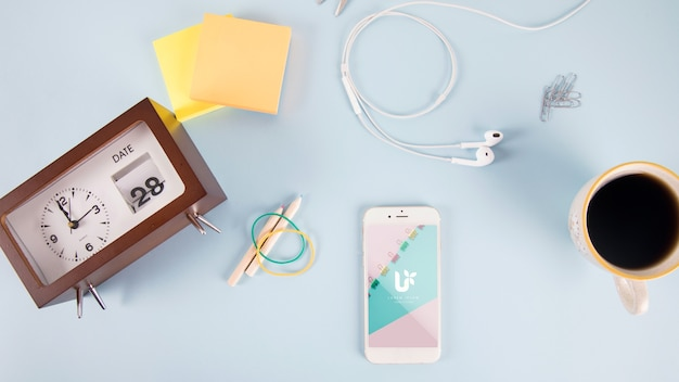 Smartphone mockup with post it notes and elements