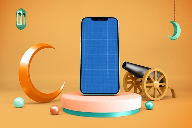 Smartphone mockup with ramadan decoration Premium Psd