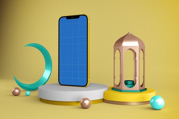 Smartphone mockup with ramadan decoration