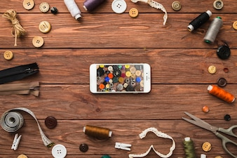 Smartphone mockup with sewing concept