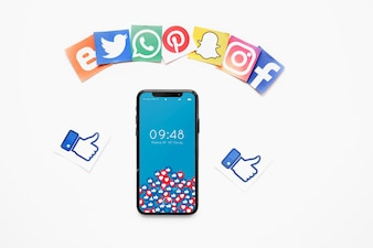 Smartphone mockup with social media concept