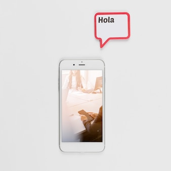 Smartphone mockup with speech bubble