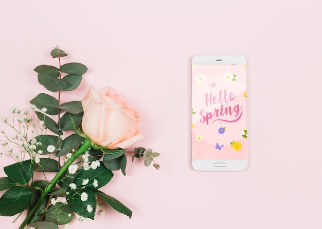 Smartphone mockup with spring concept