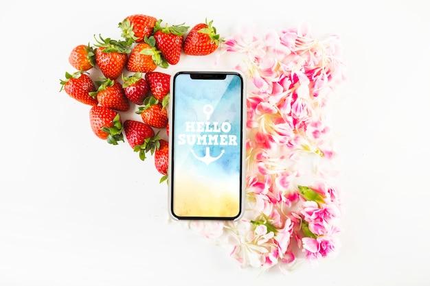 Smartphone mockup with strawberries