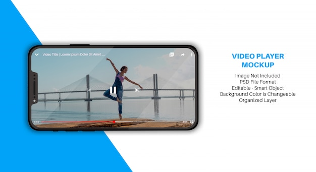 Smartphone mockup with video player app