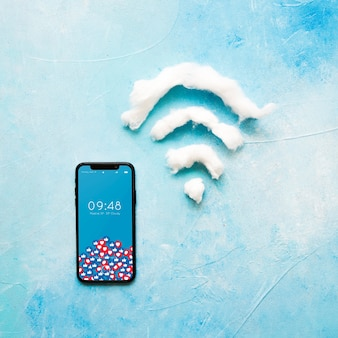 Smartphone mockup with wifi sign