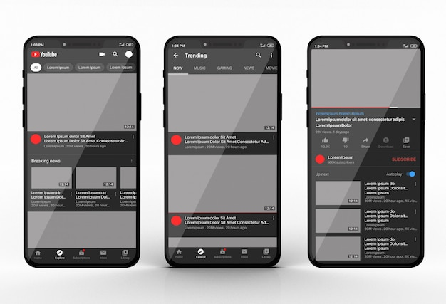 Smartphone mockup with youtube app