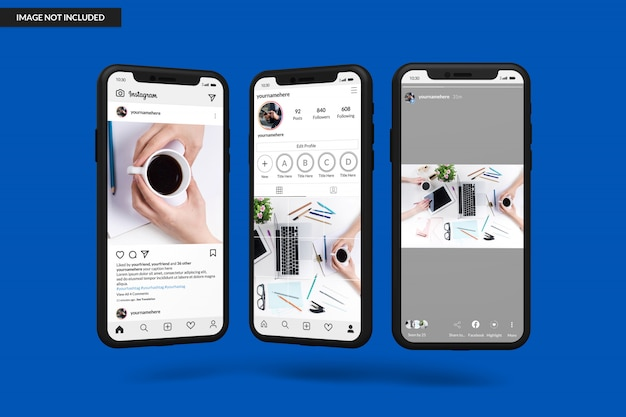 Smartphone mockups to display instagram post template