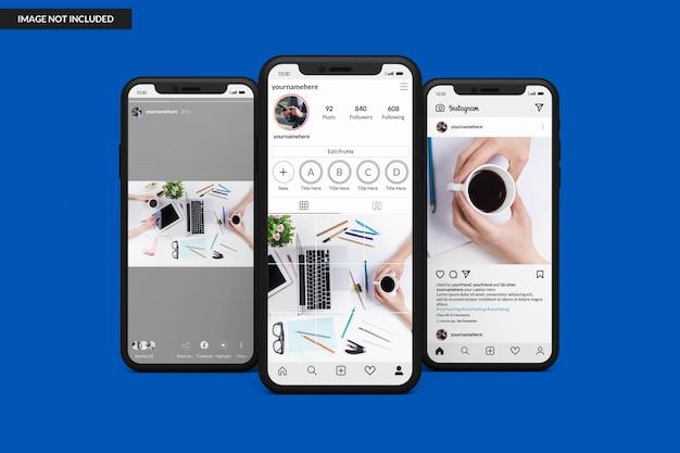 Instagram 게시물 템플릿을 표시하는 스마트 폰 모형