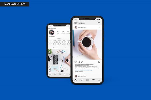 Instagramの投稿テンプレートを表示するスマートフォンのモックアップ