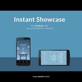 Smartphone on blue background mock up