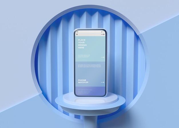 幾何学的な背景のモックアップのスマートフォン