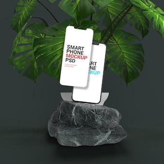大理石のアプリプレゼンテーションモックアップのスマートフォン
