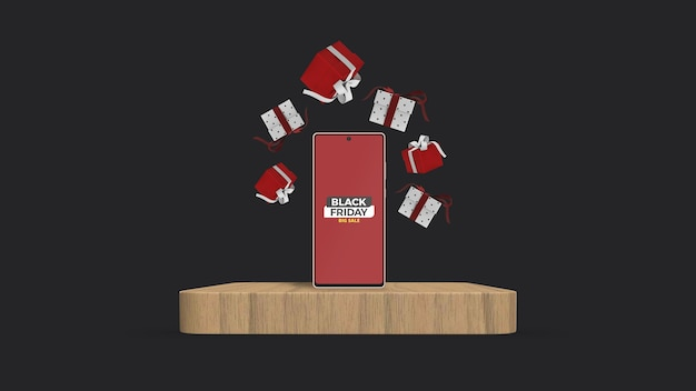 Смартфон на макете подиума с плавающей подарочной коробкой с 3d-рендерингом