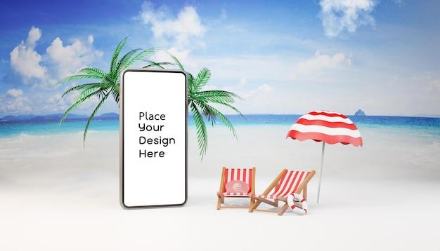 Смартфон на пляже макет