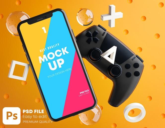 Smartphone orange mockup per gamepad