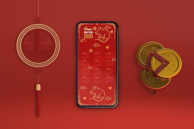 Smartphone and ornaments for new year