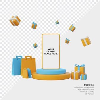 Smartphone podium online shop mockup summer theme