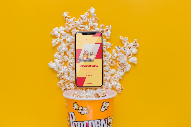 Smartphone on popcorn arrangement