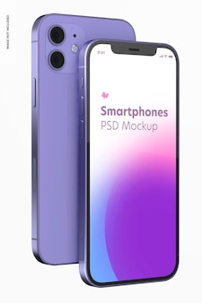 Smartphone purple version mockup, front and back view