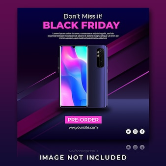 Smartphone sale black friday social media post template
