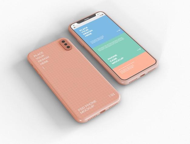 スマートフォンの画面とケースのモックアップ
