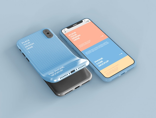 Smartphone screen and case mockup