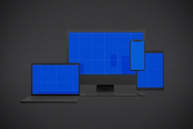 スマートフォン、スクリーンコンピュータ、タブレット、ラップトップのモックアップ