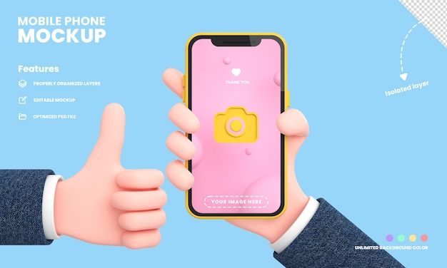 Smartphone screen or mobile phone pro mockup isolated with hand holding phone position 3d rendering