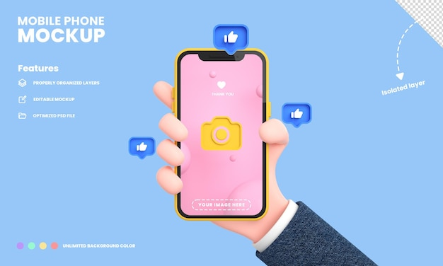 Smartphone screen or mobile phone pro mockup isolated with hand holding phone position and likes