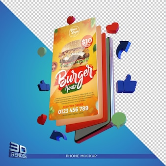Smartphone screen mockup 3d render isolated