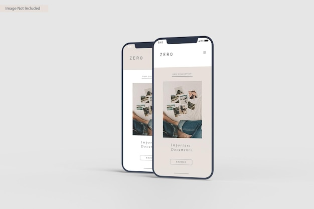 Smartphone screen mockup design rendering