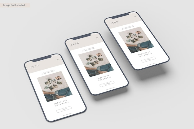 スマートフォン画面モックアップデザインレンダリング