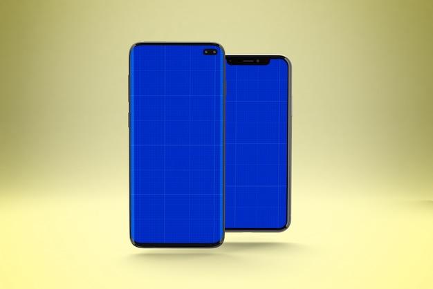 スマートフォン画面のモックアップ、正面図と背面図