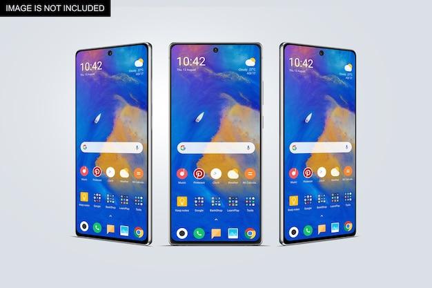 スマートフォン画面のモックアップの正面図と側面図