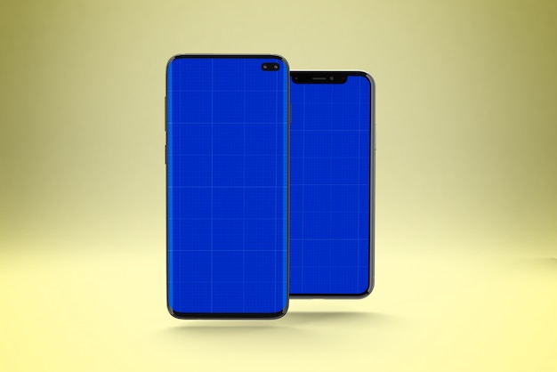 Smartphone screen mockup, front and back view