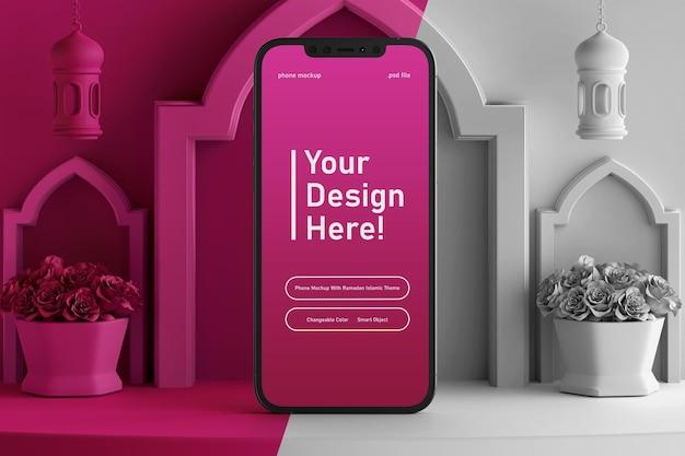 편집 가능한 색상 3d 장면에 스마트 폰 화면 모형 렌더링 라마단 eid 무바라크 이슬람 테마