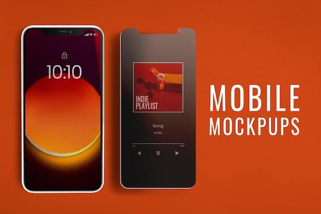 Psd макет экрана смартфона с фиолетовыми пузырями