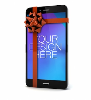 Smartphone screen mockup with a bow in 3d rendering