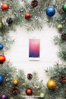 Smartphone screen mockup with christmas design