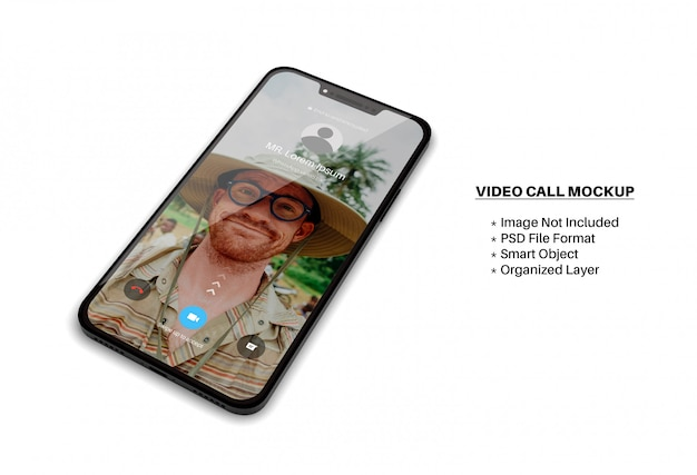 Smartphone screen mockup with incoming video call