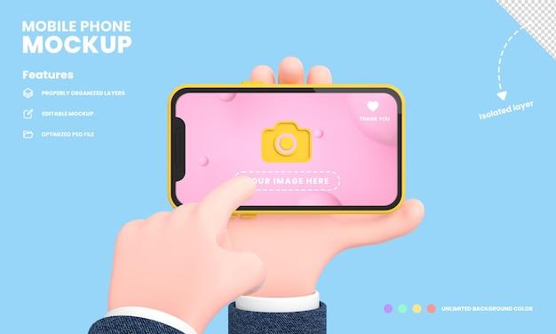 스마트폰 화면 또는 휴대 전화 프로 이랑은 손을 잡고 전화 위치 3d 렌더링으로 격리