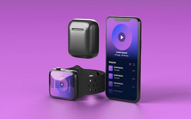Smartphone smartwatch and earbud case device mockup