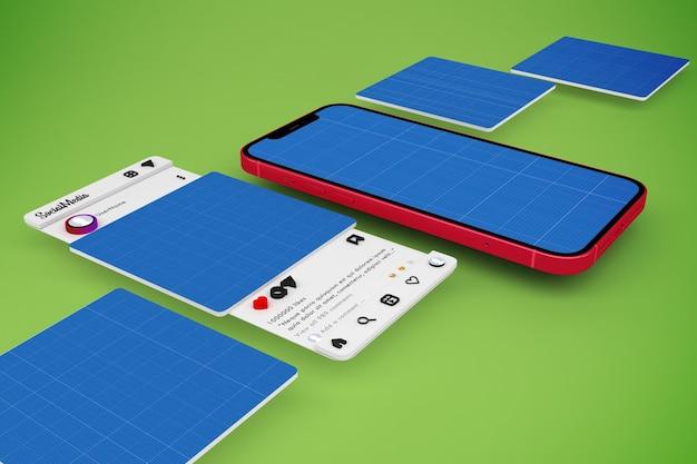 Smartphone social media mockup Premium Psd