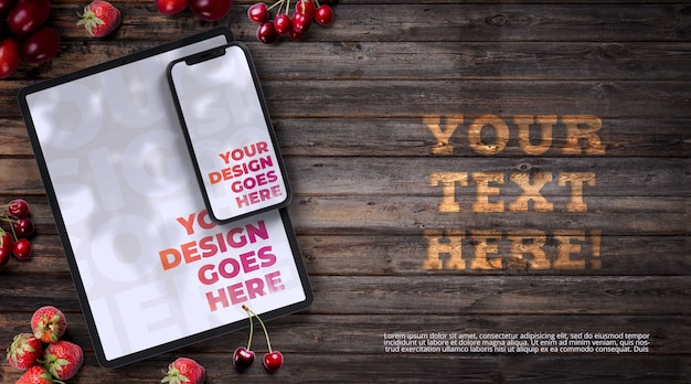 Smartphone and tablet surrounded with red fruits mockup